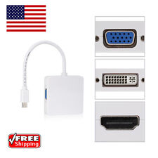 3 In 1Mini Display Port DP Thunderbolt to DVI VGA HDMI Adapter Cable For MacBook