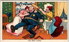 "COMIC Postcard  ""TOO MANY COOKS""  Policeman, 2 WOMEN    1910    Postcard"
