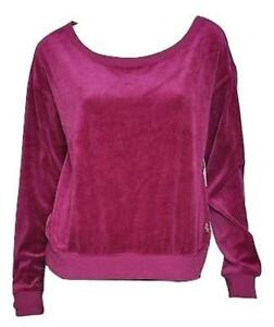 NWT JUICY COUTURE Women's Magenta Boatneck Velour Pullover Size S