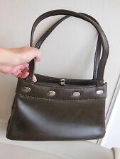 magnifique sac à main vintage de qualité, en cuir d agneau couleur brun-kaki