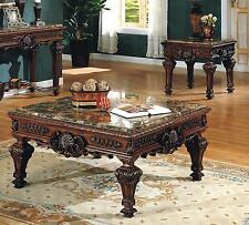Mcferran Rt2800 C 2pcs Brown Marble Top Coffee Table Set