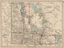 "MANITOBA. Pre northward expansion. ""postage stamp province"". Railroads 1906 map"