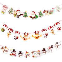 Décor de fête de Noël suspendus bonhomme de neige Santa Claus Elk Sock bannière