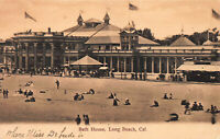 Bath House, Long Beach, California, very early postcard, unused