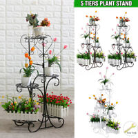 5 Tier Metal Plant Pot Stand Flower Shelf Rack Garden Home Indoor Outdoor