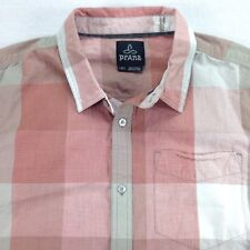 prAna Lightweight Shirt Mens size LARGE Pink Plaids Checks Outdoors Camp Hike