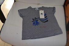tee shirt neuf petit bateaux 2 ans debardeur  raye marine blanc  bateaux