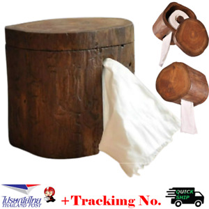 "6"" Wooden Tissue Cover Box Teak Wood Handmade Handcraft Home Decor +Tracking No."