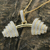 10k Real Yellow Gold 2CT Round Cut Diamond Pendant Necklace For Men's