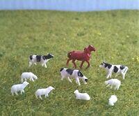 1:150 N Gauge Model Railway 10 Mixed Farm Animals - Cows, Sheep & Horses