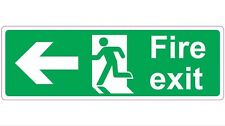300mm X 100mm FIRE EXIT - LEFT - STICKER/SIGN - Health and Safety - Directional
