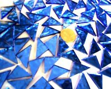 35 BLUE MOSAIC mirror TRIANGLES 2cm x 2cm arts & crafts