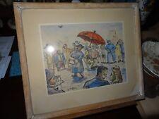 Dessin aquarelle fête de quartier France libérée chanteur accordéon 1945
