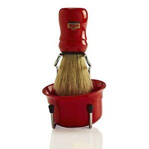 Omega 49.18 Pennello da Barba Ciotola e Supporto Set - Rosso