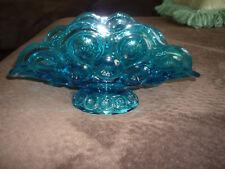 BEAUTIFUL BLUE MOON & STAR PRESSED GLASS BANANA BOAT ON PEDESTAL!