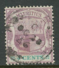 MAURITIUS 1897 4C coat of Arms with extremely rare POSTMARK-ERROR: INVERTED YEAR
