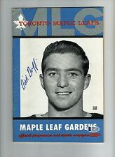Dick Duff Auto Autograph Signed 1959/60 Maple Leafs Program Beckett Authentic