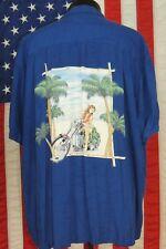 Rare VTG Made Hawaii Hawaiian Shirt Aloha Paradise Found XL Rayon Motorcycle Blu