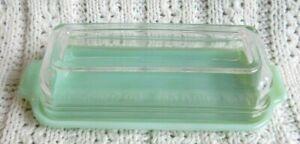 Vtg Fire King Jadeite Green Glass Covered Butter Dish Quarter Pound Crystal Lid