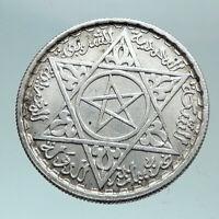 1953 1372 AH MOROCCO King Mohammed V Star & Crown Genuine 100 Franc Coin i82096