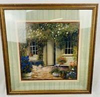 Stone Cottage Garden Flowers Painting Print Framed 26x26