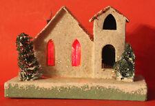 Vintage Japan  Cardboard Christmas Village House with Christmas Trees