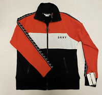 DKNY Sport Women Track Jacket Full Zip Size XS Black Red White Logo Sleeves NWT