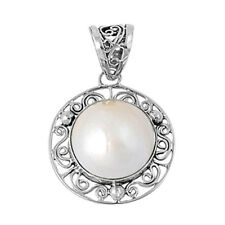 Mabe Pearl Round Pendant Sterling Silver 925 Created Stone Jewelry Gift 22 mm