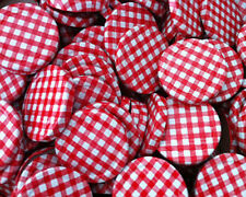 Damson Brook 63mm Red Gingham Jam Jar Preserve Chutney Lids Bulk Pack of 100