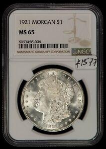 1921 $1 Morgan Silver Dollar - Frosty Luster - NGC MS 65 - SKU-Z1577