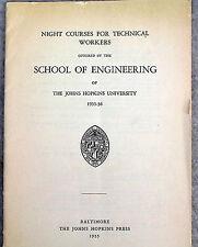 1935 Johns Hopkins University Night Course Catalog School of Engineering