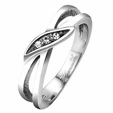 Three Stone Anniversary Ring Womens Stainless Steel Cubic Zirconia Promise Band