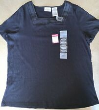 WHITE STAG STRETCH WOMAN - BLACK - 1X (36) Short Sleeve Pucker Tee - NWT