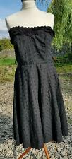 red herring black broderie anglaise strapless dress 14