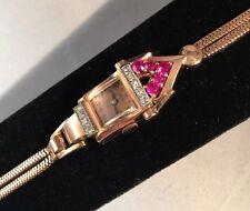 AERNI VINTAGE ART DECO 1940's 14KT ROSE GOLD DIAMONDS & RUBIES LADIES WATCH 27g