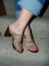 Walter Steiger Beige Pony Hair Strappy Block Heel Slides/Sandals , Size 7