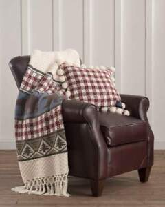 PENDLETON HOME Cabin PINE LODGE Knit THROW BLANKET + Feather TOSS PILLOW  2PC