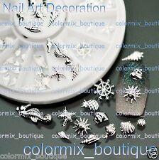 #AW_17 Beach Nail Art Decoration 3D Silver Seahorse Starfish Shell Conch Slice