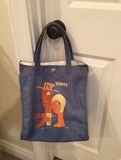 EUC ANYA HINDMARCH Vanity Fair Canvas Blue Denim Handbag Shoulder Bag Tote