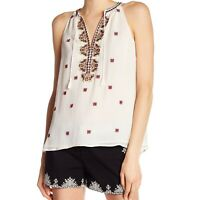 JOIE Women's Top SIze M Eniko P Embroidered Silk Tank Natural Mixed Ivory NWT
