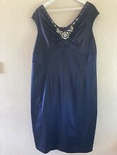 MONSOON SIZE 22 MIDNIGHT BLUE SATIN BEADED SHIFT DRESS EVENING OCCASIONS PARTY