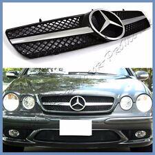 Fit 00-06 Benz W215 Coupe CL500 CL55 CL600 Chrome Shiny Black 1 Fin Front Grille