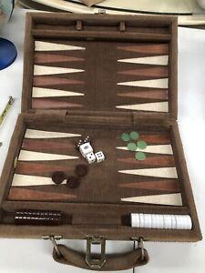 Travel Backgammon Set Case Vintage 1970s Game