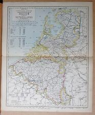 1883  ANTIQUE MAP - BELGIUM AND THE NETHERLANDS