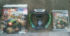 Monster Jam: Path of Destruction (Sony PlayStation 3, 2010) with steering wheel