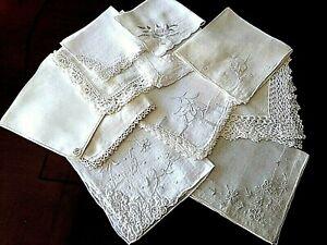 "11 Beautiful VTG HANKIES ~""Shades of White"" LACE Trims IRISH Linen/Cotton BRIDAL"