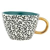 Mystic Teal Stoneware Mug by Ladelle - intricate black/white design with teal...