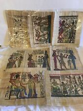 "LOT of EIGHT EGYPTIAN PAPYRUS HAND PAINTED ITEMS 17"" x 13.5""  VERY RARE!"