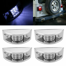 4X White Truck Trailer Side Marker Clearance Light Sealed Chrome Base 12LED 12V