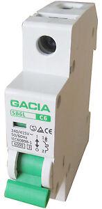 Leitungsschutzschalter GACIA SB6L 1P C6A, Sicherungsautomat MCB